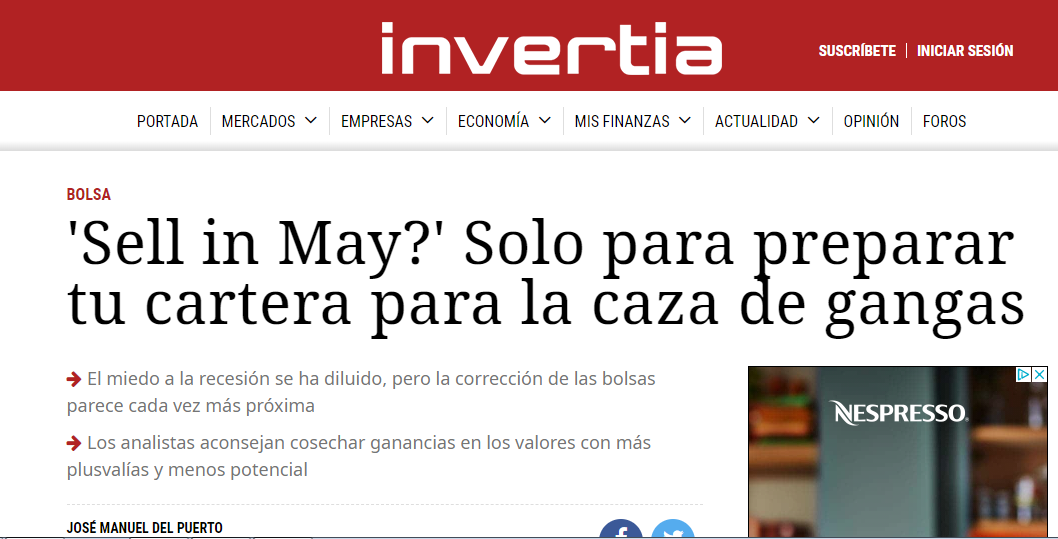 Artículo de Invertia, 'Sell in May?'